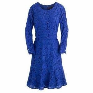 J. CREW Cobalt Blue Lace Long Sleeve Dress 8